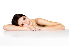 Beauty shot of a young beautiful model stock images