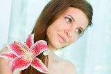 Beauty shot of young brunette. Royalty Free Stock Photo