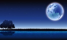 Beauty silhouette of forests and lakes with full moon background Royalty Free Stock Image