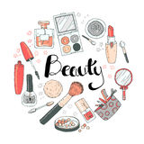 Beauty sketch background. Hand drawn doodle vector round illustr Stock Photos