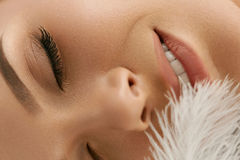 Beauty Skin Care. Beautiful Woman's Face With Soft Fresh Skin. Beauty Skin Care. Closeup Of Beautiful Happy Young Woman With Perfect Soft Skin And Natural Makeup royalty free stock photos