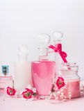 Beauty and skin care concept at light background, front view. Various cosmetic products in bottles and jars with pink  flowers Stock Images