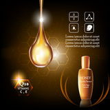 Beauty skin care. Honey double Serum and Vitamin Beauty Concept Skin Care Cosmetic.Background Vector Concept , serum anti age intensive Stock Photography