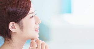 Beauty skin care woman. In the bathroom royalty free stock images