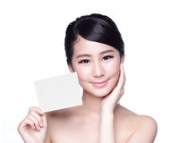 Beauty Skin care woman showing Royalty Free Stock Photo