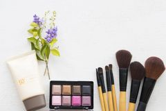 Beauty skin face cosmetic makeup for colorful woman. Brush ,eyes shadow ,lipstick ,sunscreen spf50 beauty skin face cosmetics makeup for colorful woman on white royalty free stock image