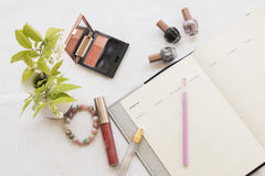 Beauty skin face set cosmetic makeup and notebook Stock Images
