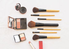 Beauty skin face set cosmetics makeup and prepare relax travel of colorful woman. Background accessories beauty skin face cosmetics makeup and prepare relax royalty free stock photos