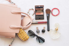 Beauty skin face set cosmetics makeup and prepare relax travel of colorful woman. Background accessories beauty skin face cosmetics makeup and prepare relax stock photos