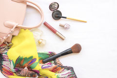 Beauty skin face set cosmetics makeup and prepare relax travel of woman. On background white royalty free stock images