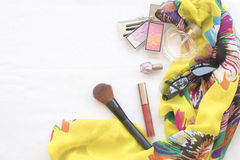 Beauty skin face set cosmetics makeup and prepare relax travel of woman. On background white royalty free stock photos