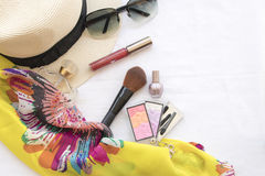 Beauty skin face set cosmetics makeup and prepare relax travel of woman. On background white royalty free stock image
