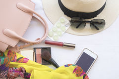 Beauty skin face set cosmetics makeup and prepare relax travel of woman. On background white stock photo