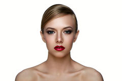Beauty Skin of Girl with smoky Eyes and red Lips. Stock Photography