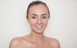 Beauty skin. Young caucasian woman with nude makeup, health and beauty care concept Royalty Free Stock Images