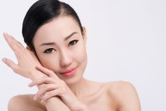 Beauty and skincare concept. Gorgeous brunette with perfect skin: beauty and skincare concept Stock Photo