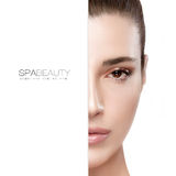 Beauty and Skincare concept. Half Face Portrait Royalty Free Stock Photo