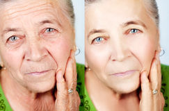 Beauty and skincare concept - no aging wrinkles. Beauty and skincare concept - senior woman without aging wrinkles Stock Photos