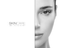 Beauty and Skincare concept. Template Design. Beauty and skincare concept with a half face portrait of a gorgeous woman with healthy clean skin and blank Stock Images