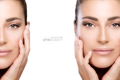 Beauty and Skincare concept. Two Face Portraits Stock Images