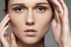 Free Beauty, Skincare & Natural Make-up. Woman Model Face With Pure Skin, Clean Visage Royalty Free Stock Image - 28240186