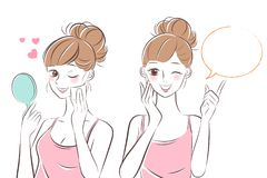 Beauty skincare woman. On the hwite background vector illustration