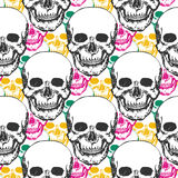 Beauty skulls pattern. Hand drawn seamless background with color triangle for textile, fabric, wrapping. Vector art Royalty Free Stock Photo