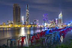 Beauty skyscrapers along river light smooth down urban Stock Photography