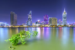 Beauty skyscrapers along river light smooth down urban Stock Images