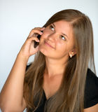 Beauty and smart phone Royalty Free Stock Images