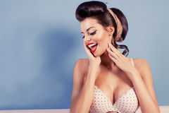 Beauty smiling pinup girl Royalty Free Stock Images