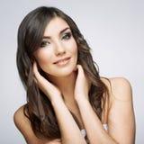 Beauty smiling woman face close up portrait. Stock Photos