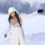 Beauty on snowy outdoors Stock Image