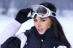 Beauty on snowy outdoors Stock Images