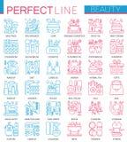 Beauty spa καλλυντικά σύμβολα έννοιας Τέλεια εικονίδια γραμμών χρώματος λεπτά Σύγχρονες γραμμικές απεικονίσεις ύφους καθορισμένες ελεύθερη απεικόνιση δικαιώματος