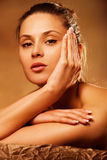 Beauty in spa. Young woman beauty portrait in spa salon Royalty Free Stock Images