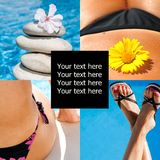 Beauty spa collage concept. Concept beauty spa collage concept why part of body and flowers and copyspace stock photo