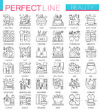 Beauty spa cosmetic concept symbols. Perfect thin line icons. Modern linear style illustrations set. stock illustration
