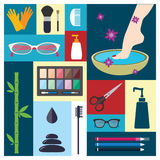 Beauty, spa, cosmetic and make up elements Royalty Free Stock Image