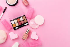 Beauty Spa Feminine Concept. Different Make Up Beauty Care Essen Royalty Free Stock Photo