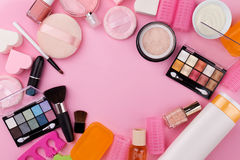 Beauty Spa Feminine Concept. Different Make Up Beauty Care Essen Royalty Free Stock Photos