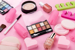 Beauty Spa Feminine Concept. Different Make Up Beauty Care Essen Royalty Free Stock Image
