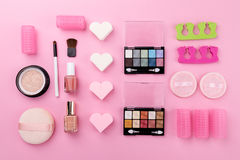 Beauty Spa Feminine Concept. Different Make Up Beauty Care Essen Stock Image