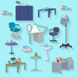 Beauty spa furniture set flat design Royalty Free Stock Images