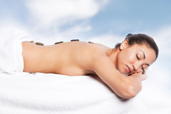 Beauty spa girl. A shot of a beautiful black woman in the spa Royalty Free Stock Photo