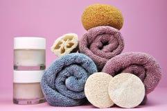 Beauty Spa Handdoeken en Luffa's Stock Foto's