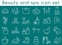 Beauty and spa icon set. 24 linear, monochrome icons in white color against teal background Stock Images