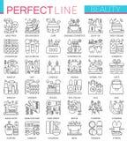 Beauty spa kosmetische conceptensymbolen Perfecte dunne lijnpictogrammen Moderne lineaire geplaatste stijlillustraties stock illustratie