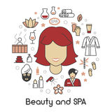 Beauty and SPA Line Art Thin Icons Set with Woman and Therapy Accessories Royalty Free Stock Photography