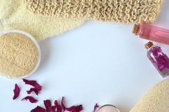 Beauty Spa cosmetics with pink peonies and luxury creams stock image